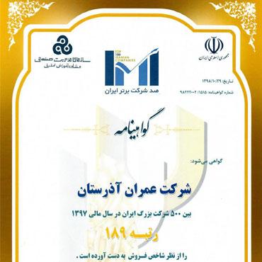 گواهینامه IMI (صد شرکت برتر ایران) در سال مالی ۹۷